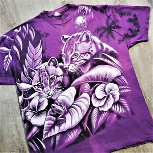 Vintage 90s All Over Print T Shirt Vtg 1990s USA Nature Art Cougar Cubs Tee XXL