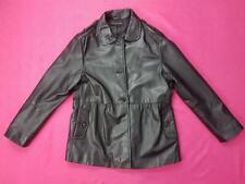 Women Wardrobe Ladies Leather Jacket Long Sleeves Button Coat Black UK 18