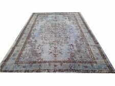 "9' 2"" x 5'4""   Vintage  light PALE SKY BLUE color reform    Overdyed rug carpet"