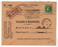 A1695)FRANCE 1939 Reg. Teleg. Boulogne S. Mer Abbeville