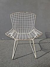 Vintage Mid Century White Metal Wire Accent Chair Harry Bertoia Eames Style