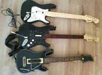 Lot of 3 AS IS Guitar Hero Controllers- Xbox 360 Fender Stratocaster Hero Power