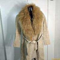BELTED Suede Leather Spy TRENCH Coat Womens Size M beige llama fur collar