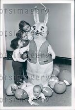1964 Cute Kids With Easter Bunny & Eggs Press Photo