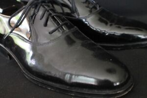 Church's Prima Classe Hand Made Patent Leather Plain Toe Oxford 9M Black Tie For