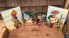 Lot Of 3 1950s Paint By Numbers Folk Art Work Signed Wt Nest Home Decor Mexicano