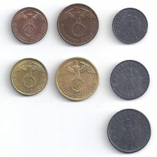 Germany Reich - Coin Set 1, 2, 5, 10 Pf. 1936 - 1940 and 1, 5, 10 Pf 1940-45