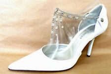 NINE WEST DAYLIGHT White Satin Beads Chain Bridal Party Womens Shoes 7.5
