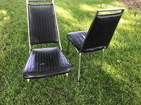 Pair (2) 1950s MCM CHROMCRAFT Black Vinyl Chrome Retro Chairs Mid Century PICKUP