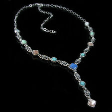 .925 Sterling Silver Multi-gemstone Turquoise Necklace