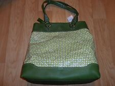 COACH PENELOPE OP ART NORTH SOUTH TOTE BAG 13453 XL GREEN + ESTEE LAUDER CASE