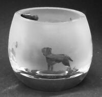 BORDER TERRIER Boxed Crystal Glass Tea Light Holder