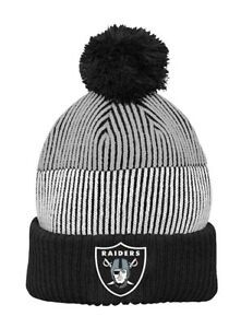 Oakland Raiders NFL Youth Boy's 8-20 Team Cuffed Knit With Pom Winter Caps Hats