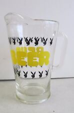 VINTAGE PLAYBOY BEER GLASS PITCHER BARWARE YELLOW LETTERING REPEATING LOGO