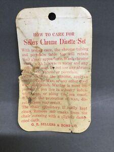 Vintage Sellers Chrome Dinette Set Original Tag Porcelain Top Care Card 1950's
