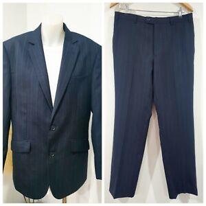 Pierre Cardin Black Suit with Blue Pin Stripes Size 96ST 86ST 2pc Set