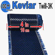 4 in x 100 FT - made with KEVLAR-CARBON FIBER ARAMID ~ Fabric - 3K/2K-200g- Blue