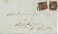 """GB """"2"""" London Numerals (Parmenter 2A) 2 x cover 2 x 1 D EARLY USAGE MAY 1844!!"""