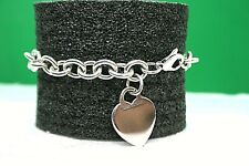 Tiffany & Co Sterling Silver Heart Tag Charm Bracelet 7.5""