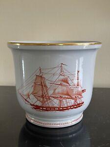 Spode Porcelain Trade Winds Gold Trim Pattern Planter Flower Pot