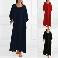 Women Plus Size Casual Long Maxi Dress Long Sleeve Plain Loose Baggy Kaftan 8-24