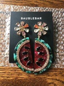 NWT! BAUBLEBAR Acrylic Watermelon Rhinestone Earrings Chunky Post Dangle -RV $44