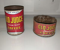 2 Vintage Old Judge Metal Coffee Cans