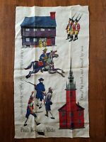 Vintage Kay Dee Hand Print Linen Kitchen Towel Paul Revere Robert Hughes
