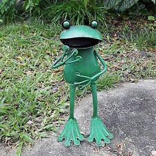 "Green Metal Home And Gaden Decor Standing Frog Sculpture Ornament  Handmade 7.5"""