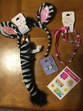 Claire's Zebra Dress Up Costume Headband Jewelry Justice Stickers Lot Easter
