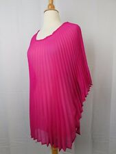 Collection XIIX Eternal Night Sheer Pleated Poncho Tunic Fuchsia One Size #5750