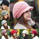 Femmes Hiver Chaud Chapeau Crochet Tricot Souple Bonnet Large Casquette Neuve