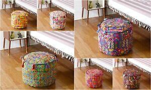 Indian Cotton Ottoman Pouffe Patchwork Round Footstool Ethnic Floor Decor Boho
