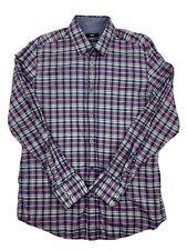 Hugo Boss Mens Purple Plaid Regular Fit Long Sleeve Button Up Shirt Size Medium