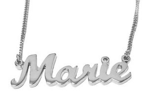 4 letters in 9 Carat White Gold Name Necklace