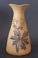 Leftwich Studio Art Pottery Vase 1995 Handcrafted Impressed Floral Leaf Design