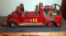 Vintage tin toy fire truck, rough shape, parts missing, colors are great still
