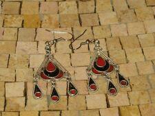 - Enamel Earrings- Red black earrings Ethnic Black Red Enamel Silver Earrings