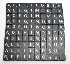 BLACK PLASTIC - INDIVIDUAL A - Z SCRABBLE TILES - With White Letters & Values