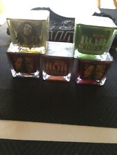 NEW Set of 5 Glass Bob Marley Square Votive Tea Light Holders & Candles One Love