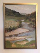Antique Victorian huile sur toile peinture paysage signé e.r.b. English school