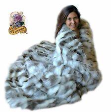 Premium Faux Fur Throw Blanket Gray Tibetan Fox Tibet Minky Cuddle Fur Lining