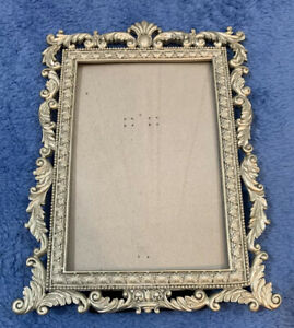 Intricate Detail Border Metal Silver Pewter Tone Picture Frame Holds 4 x 6 Photo