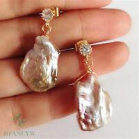 Colorful baroque petal pearl earrings with 18k gold hook Flawless Dangle Luxury