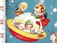 1 Fat Qtr RETRO ROCKET RASCALS Space Kids 1950's Vintage Mid Century Atomic