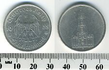 Germany - Third Reich 1935 A - 5 Reichsmark Silver Coin - Church, Swastikas -#11