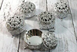 12 Silver Trinket Baby Shower Favors Prizes Wedding Jewelry Keepsake Container