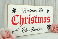 Personalised Christmas Welcome Sign Vintage Gift Plaque Shabby & Chic