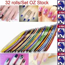 32Pcs Mixed Colors Rolls Striping Tape Line Nail Art Tips Decoration DIY Sticker