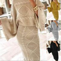 Ladies Womens Chunky Cable Knitted Co-Ord Flared Two Piece Top Skirt Dress Suit